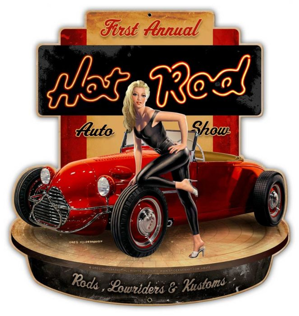 Hot Rod Show Metal Sign 23 x 24 Inches