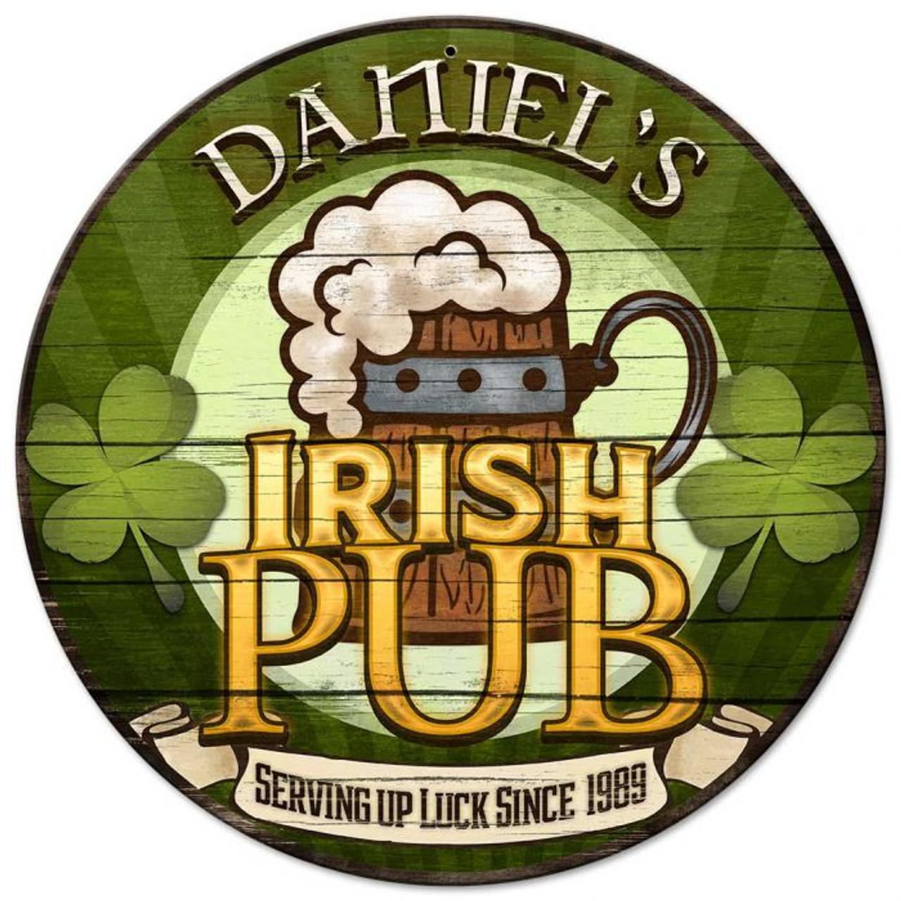 Irish Pub Round Metal Sign - Personalized 14 x 14 Inches