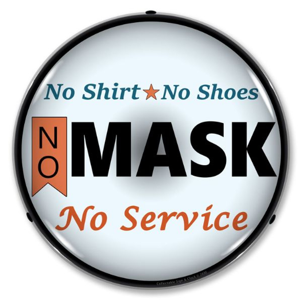 No Mask No Service LED Lighted Business Sign 14 x 14 Inches
