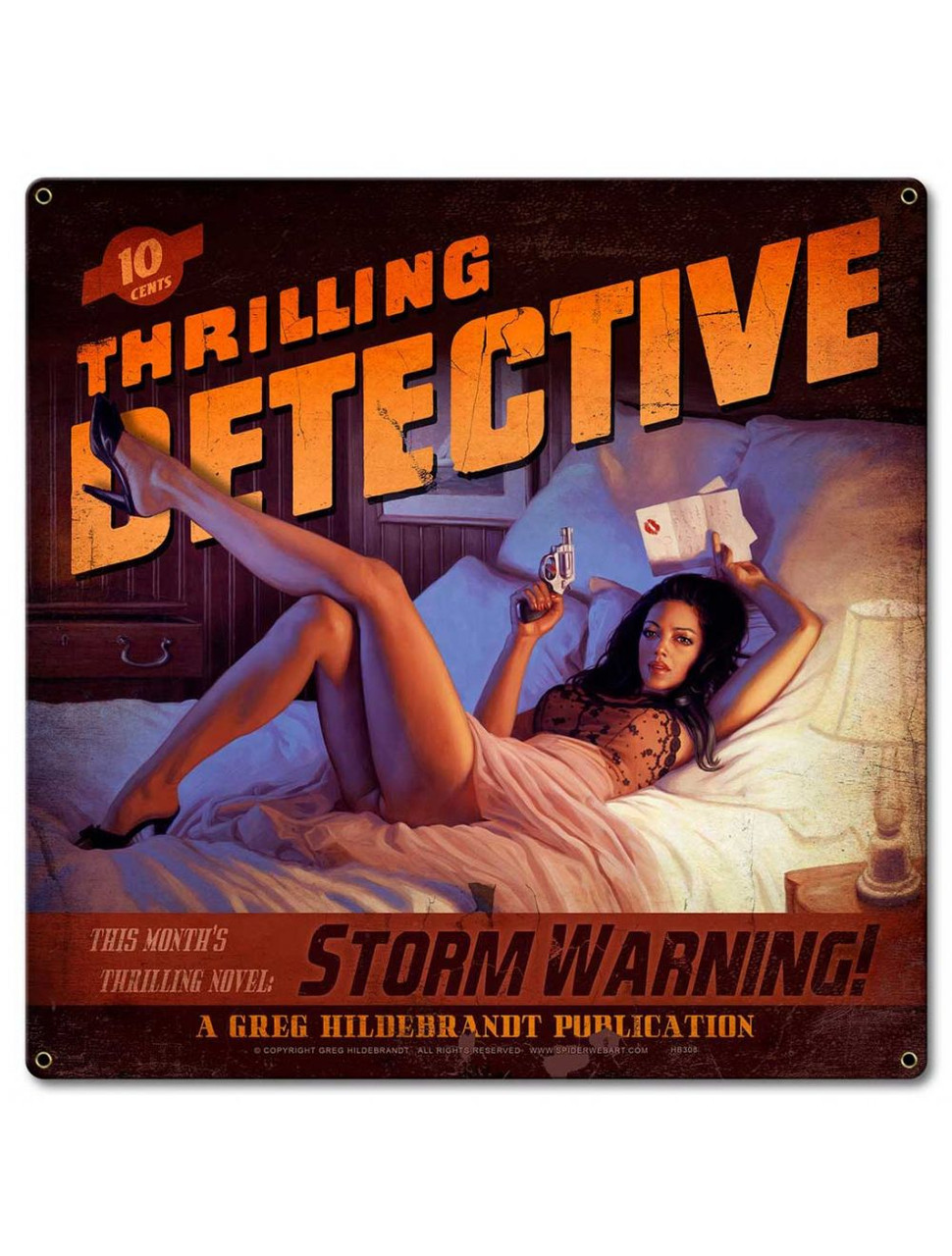 Storm Warning Pinup Metal Sign 18 x 18 Inches