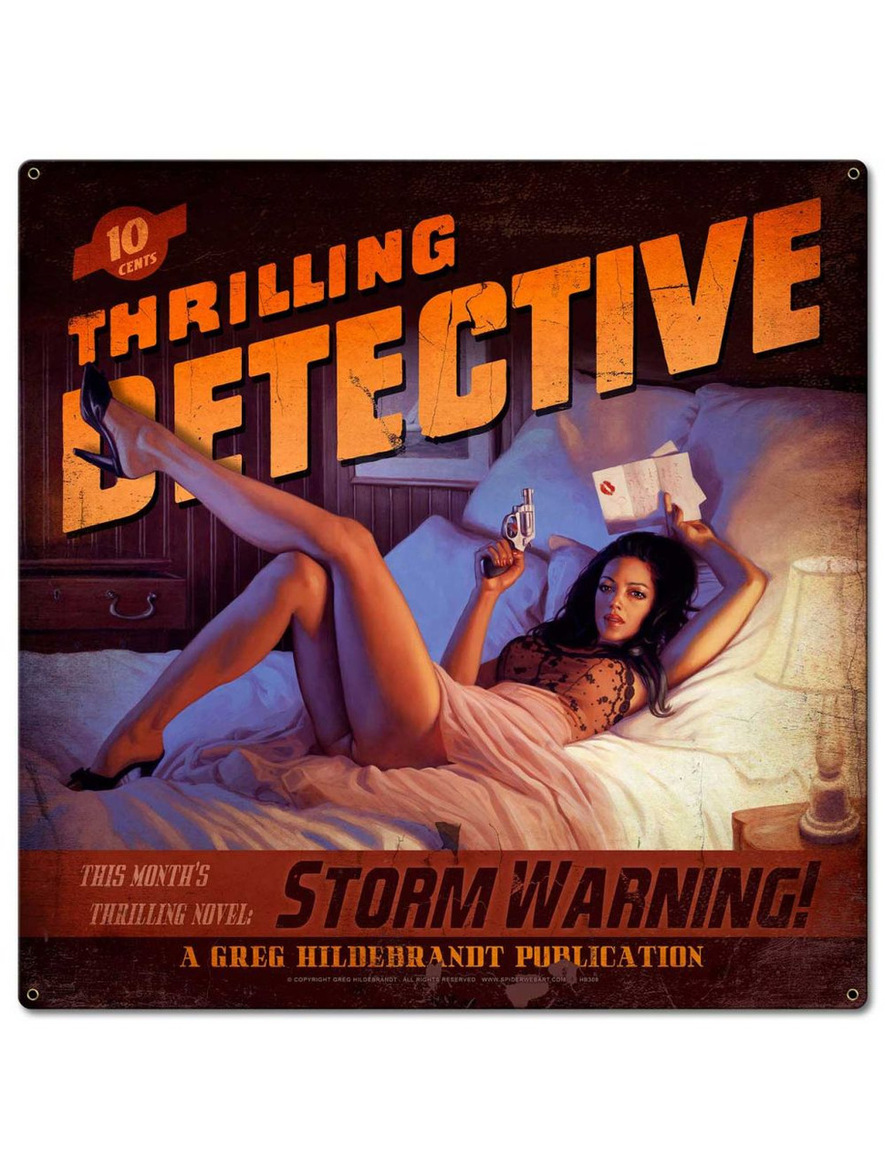 Storm Warning Pinup Metal Sign 24 x 24 Inches