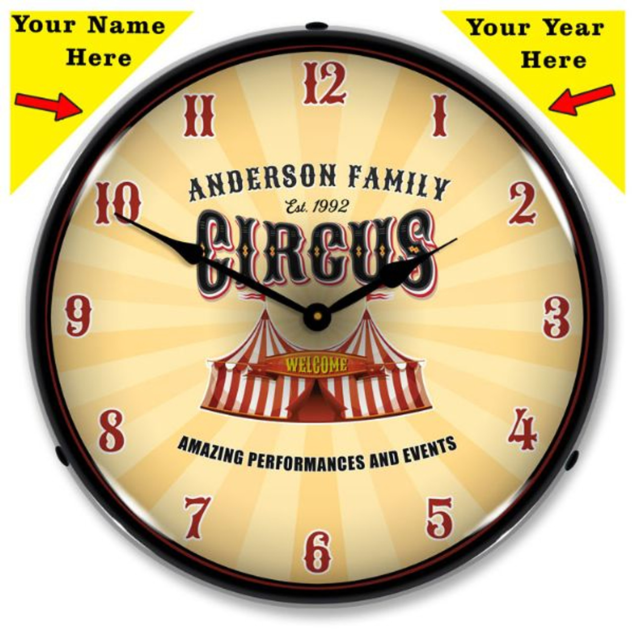 Personalized Family Circus LED Lighted Wall Clock 14 x 14 Inches
