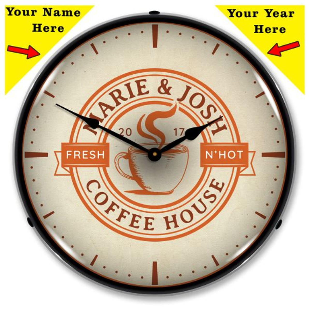 Personalized Coffee House LED Lighted Wall Clock 14 x 14 Inches