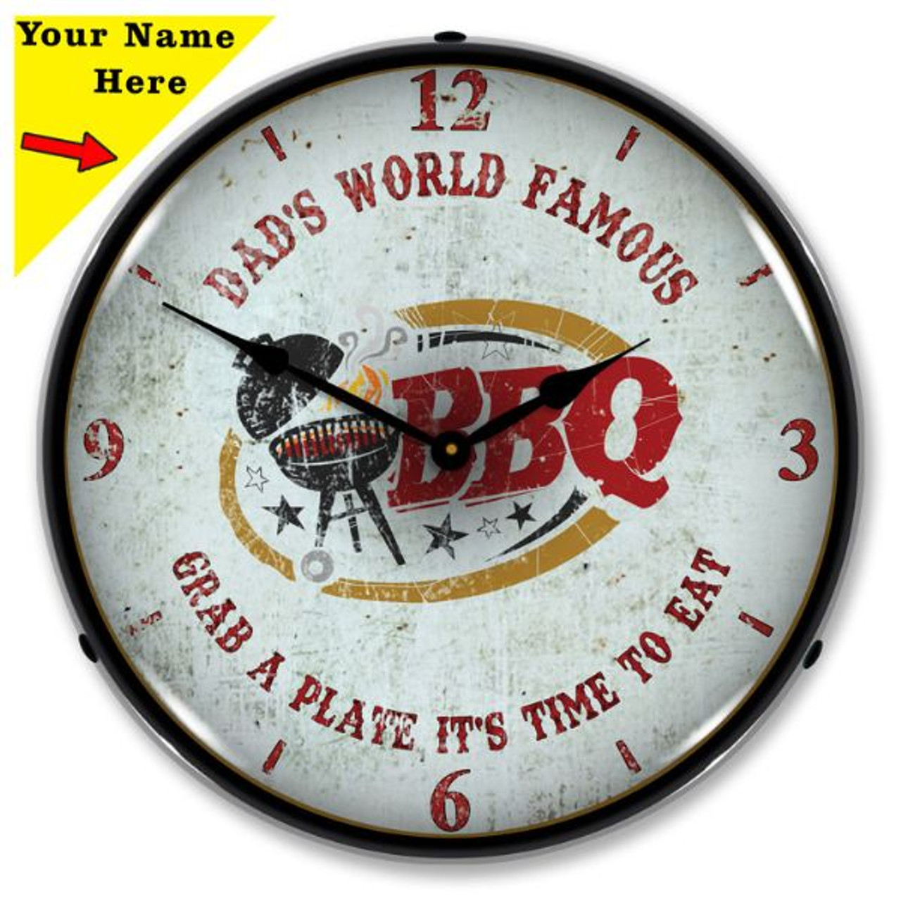 Personalized Dads BBQ LED Lighted Wall Clock 14 x 14 Inches (Add Your Name)
