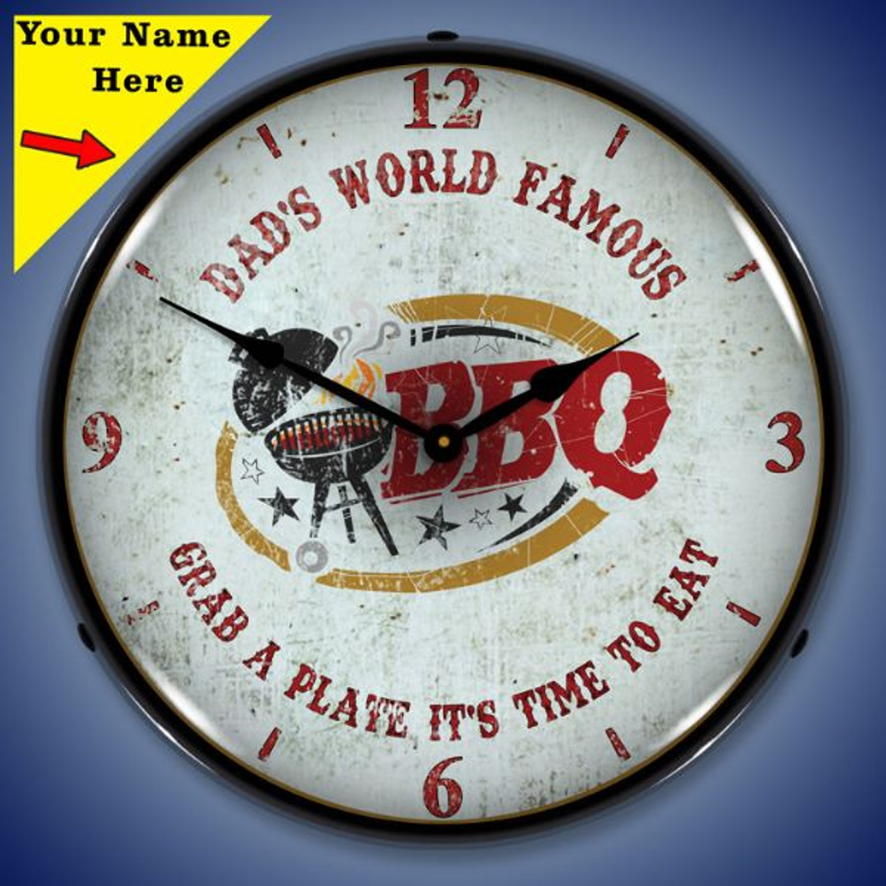 Personalized Dads BBQ LED Lighted Wall Clock 14 x 14 Inches