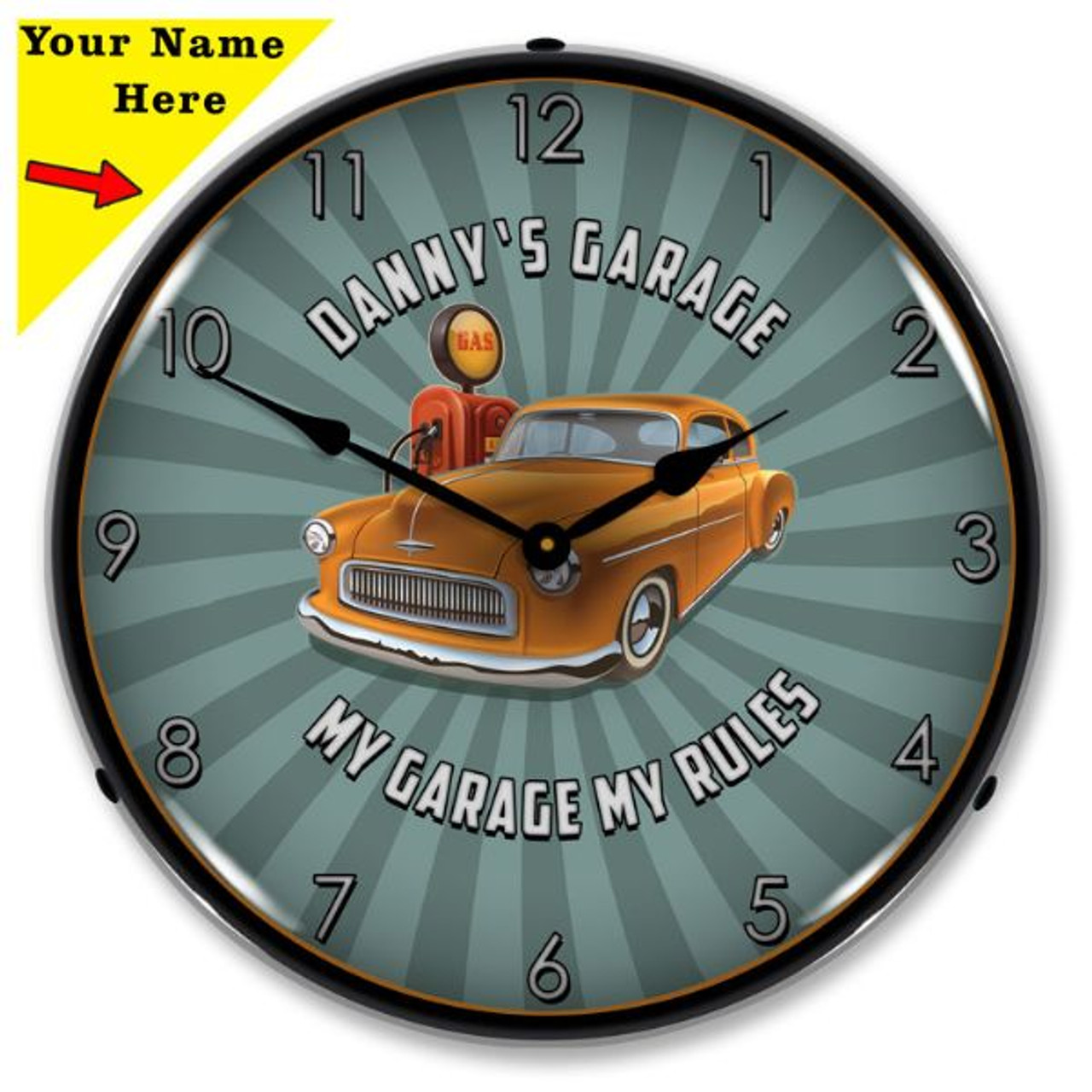 Personalized My Garage My Rules LED Lighted Wall Clock 14 x 14 Inches (Add Your Name)