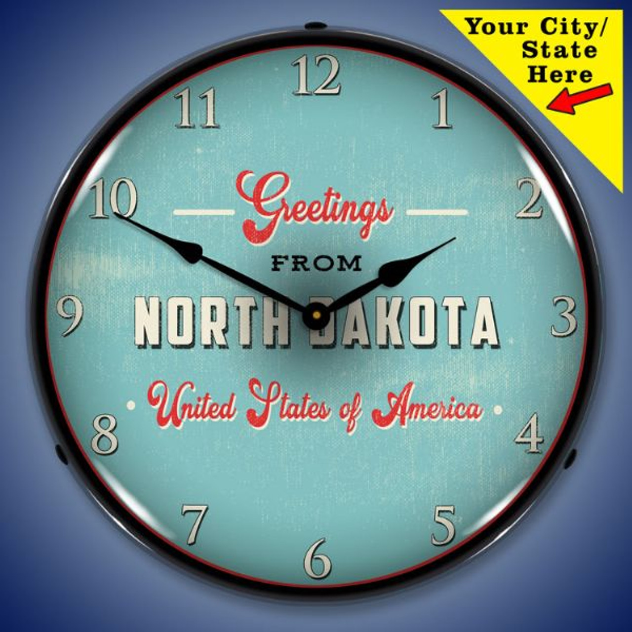 Personalized Greeting From Postcard LED Lighted Wall Clock 14 x 14 Inches