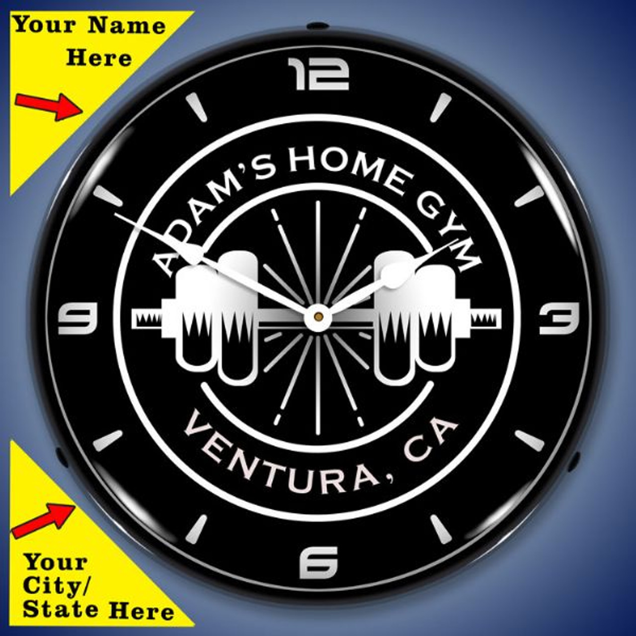 Personalized Home Gym LED Lighted Wall Clock 14 x 14 Inches