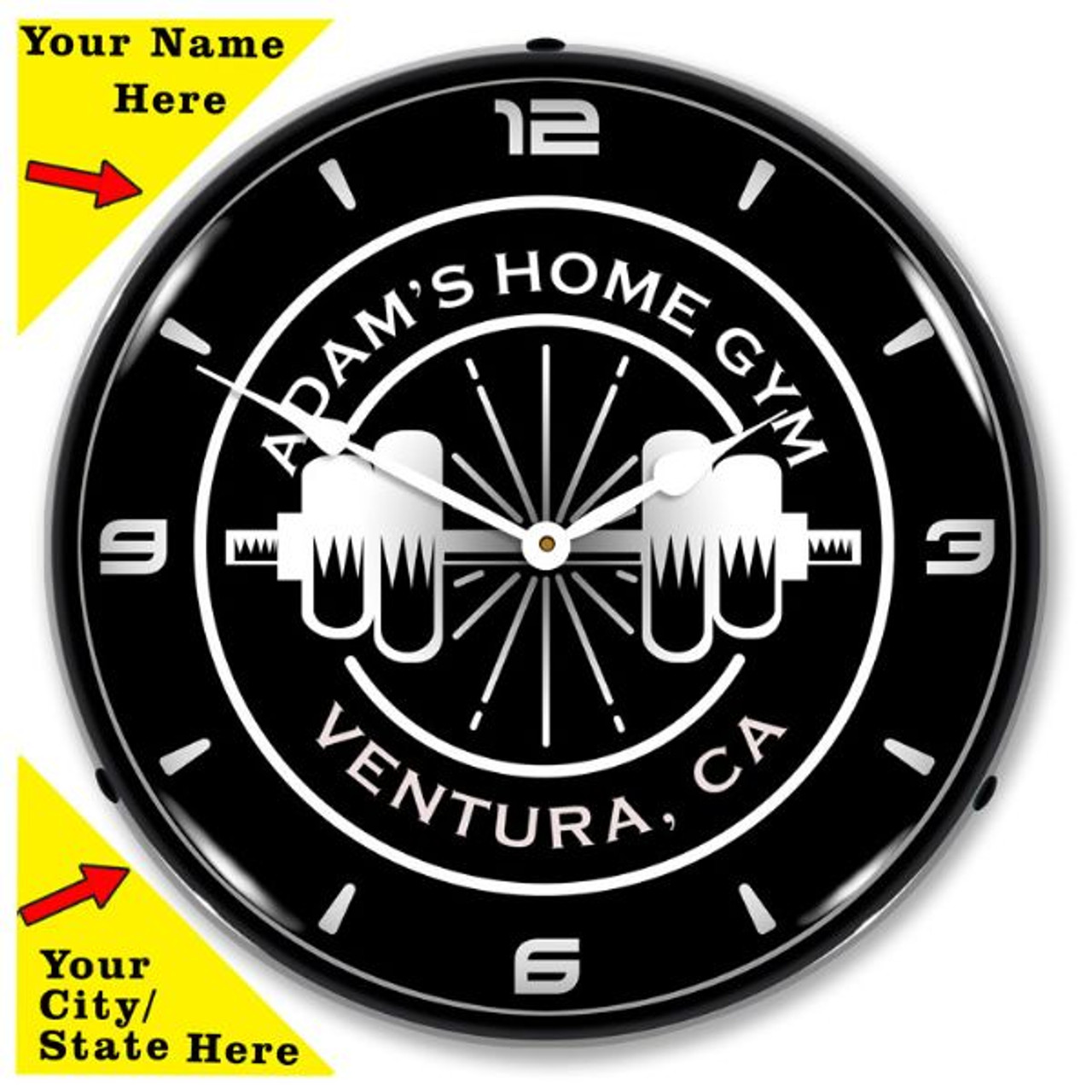 Personalized Home Gym LED Lighted Wall Clock 14 x 14 Inches (Add Your Name /City/State)