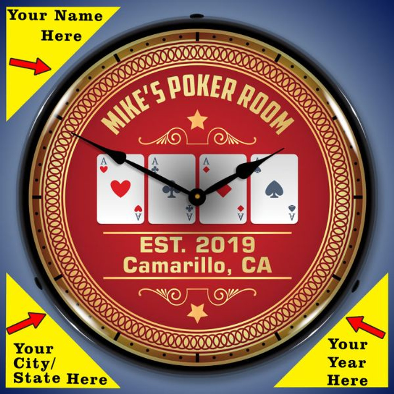 Personalized Poker Room LED Lighted Wall Clock 14 x 14 Inches