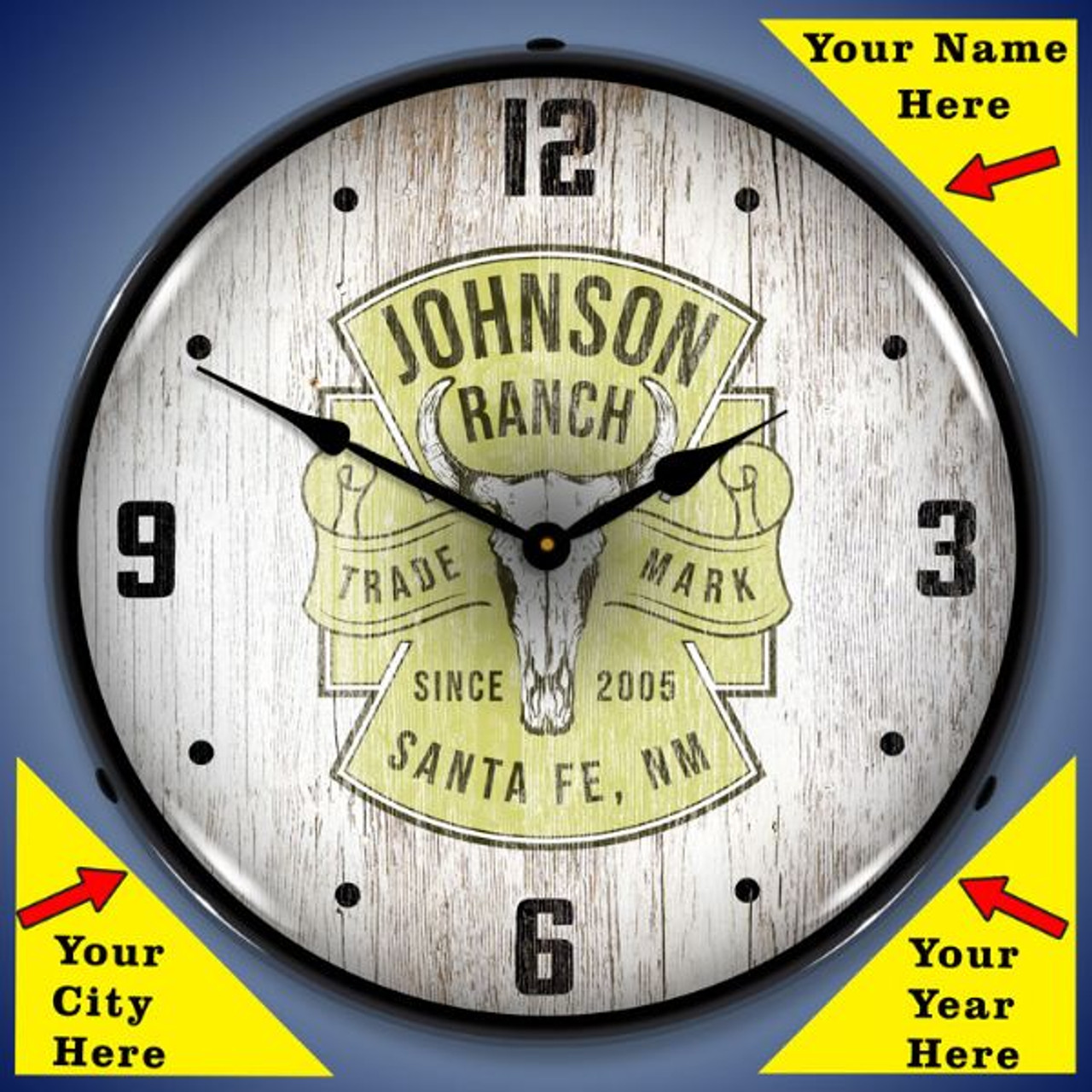 Personalized Rustic Ranch LED Lighted Wall Clock 14 x 14 Inches