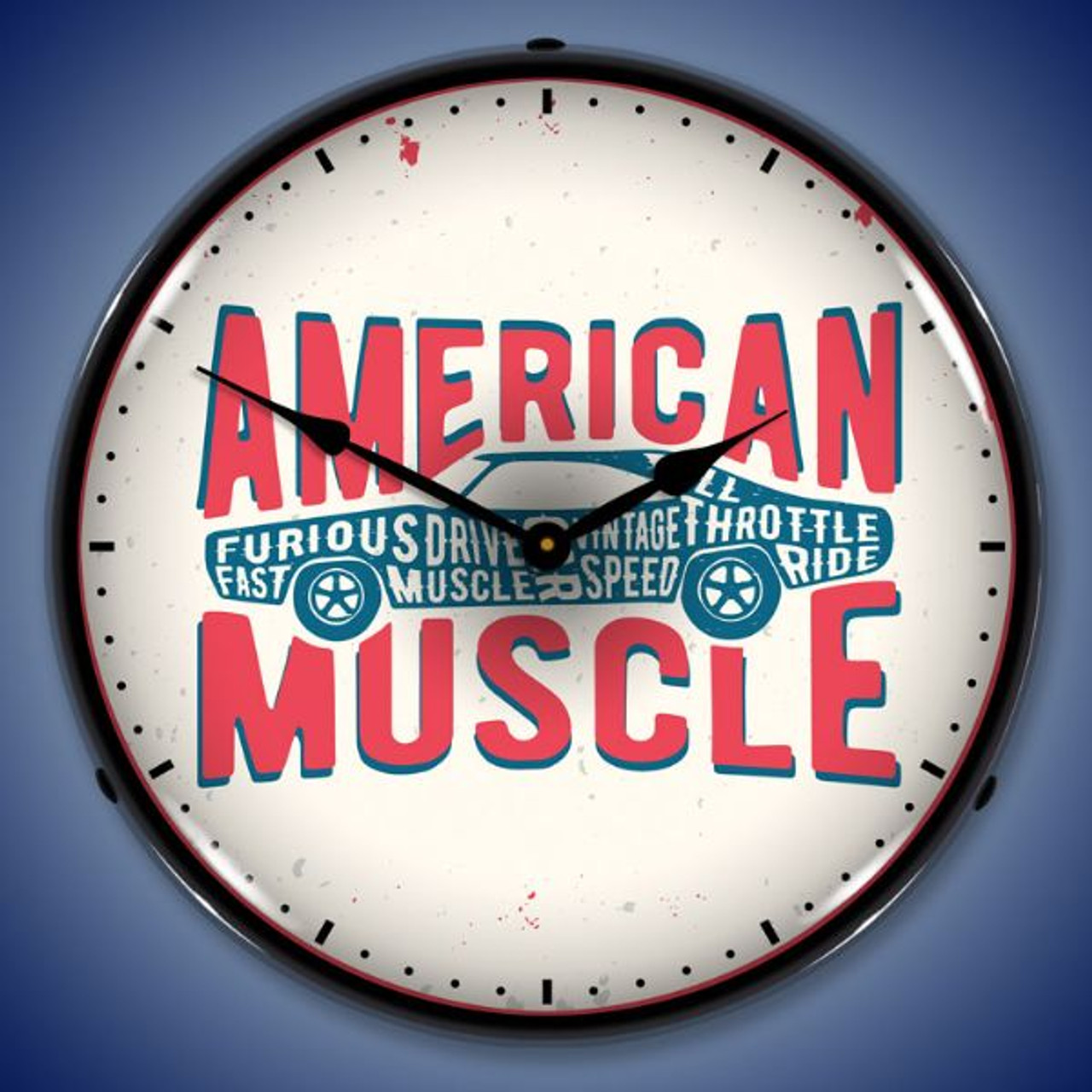 American Muscle LED Lighted Wall Clock 14 x 14 Inches