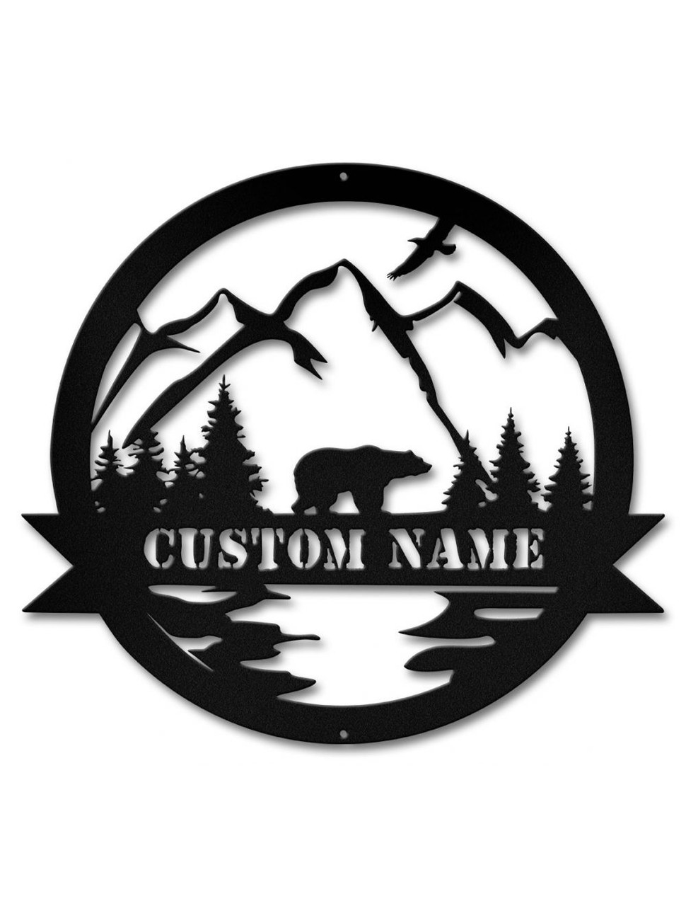 Alpine Bear Cutout Metal Sign - Personalized 15 x 14 Inches