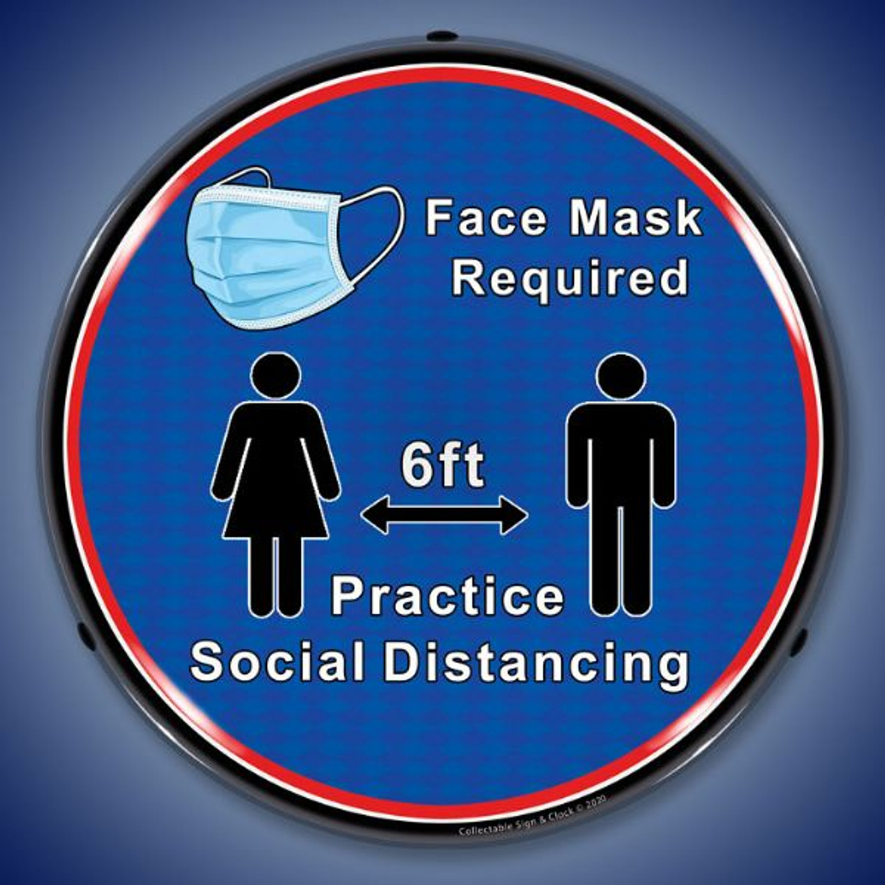Mask and Social Distance LED Lighted Business Sign 14 x 14 Inches