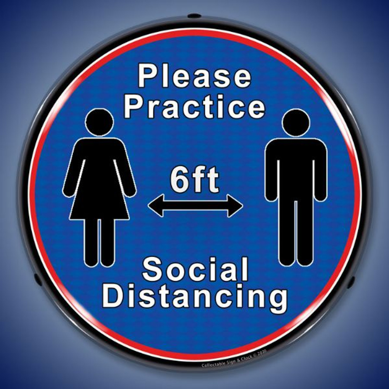 Please Practice Social Distancing LED Lighted Business Sign 14 x 14 Inches