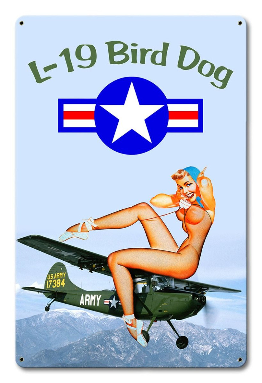 L-19 Bird Dog Pinup Metal Sign 12 x 18 Inches