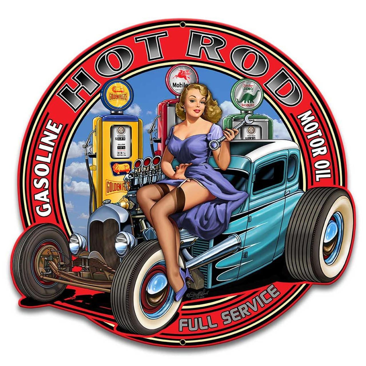 Twisted Rat - Pin-Up Girl Metal Sign 14 x 14 inches