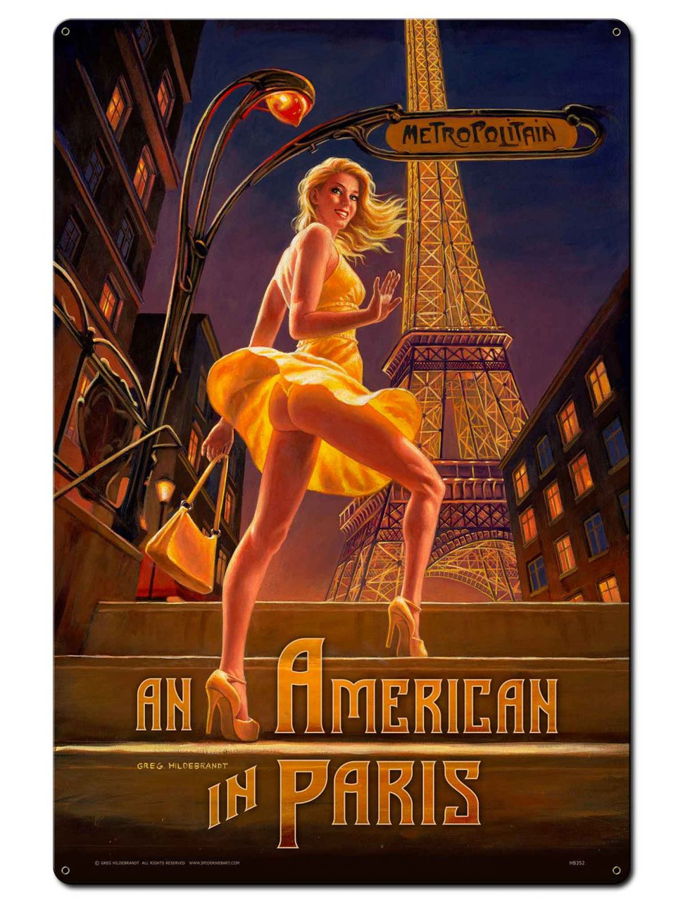 American in Paris Pinup Girl Metal Sign 24 x 36 Inches