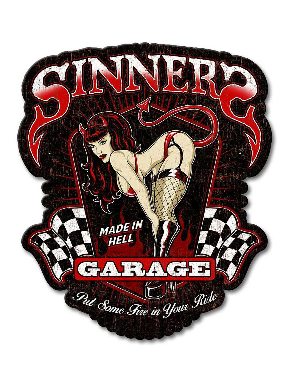 Sinners Garage Metal Sign 14 x 16 Inches