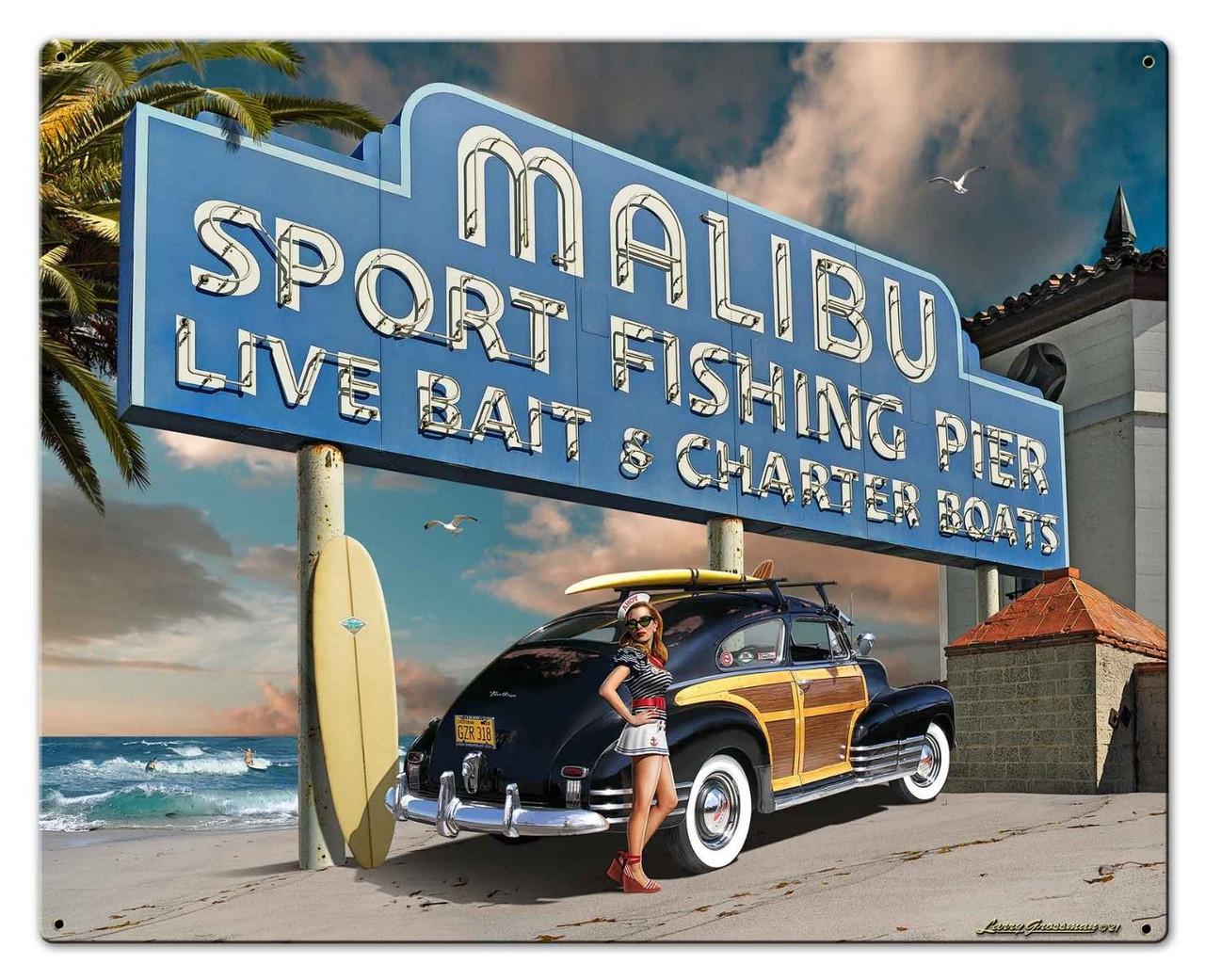 Malibu Pier Metal Sign 30 x 24 Inches