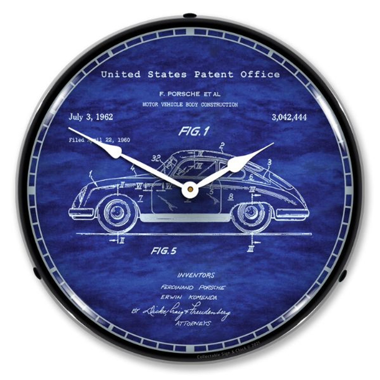 Porsche 356 Patent LED Lighted Wall Clock 14 x 14 Inches