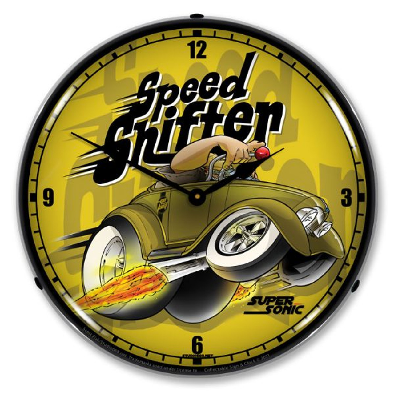Speed Shifter Lighted Wall Clock 14 x 14 Inches