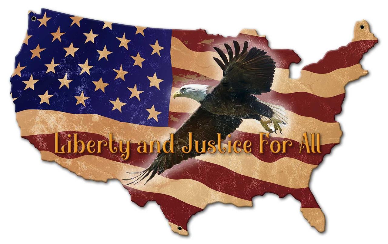 US Flag Eagle Custom Shape Metal Sign 18 x 11 Inches