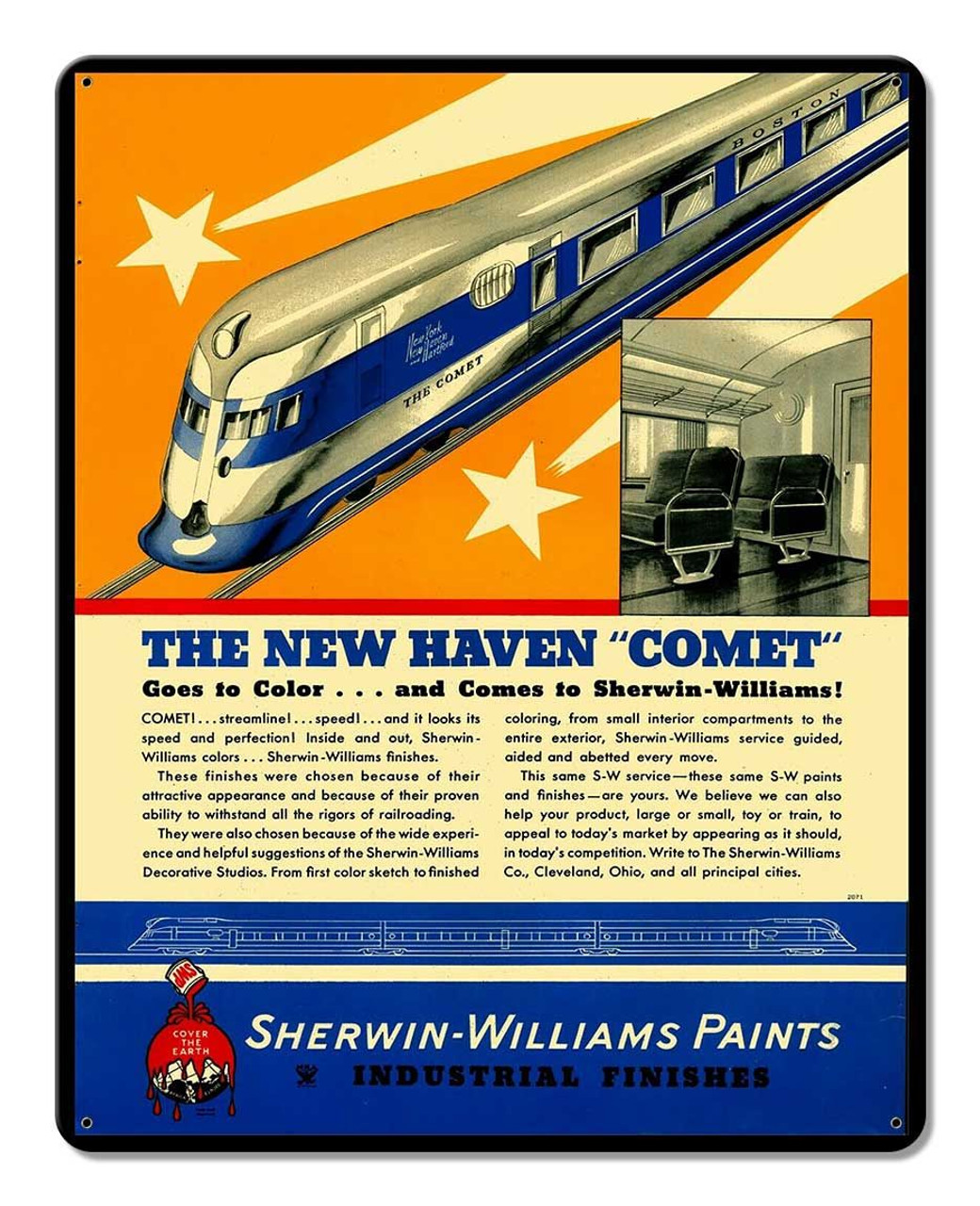 New Haven Comet Train Metal Sign 12 x 15 Inches