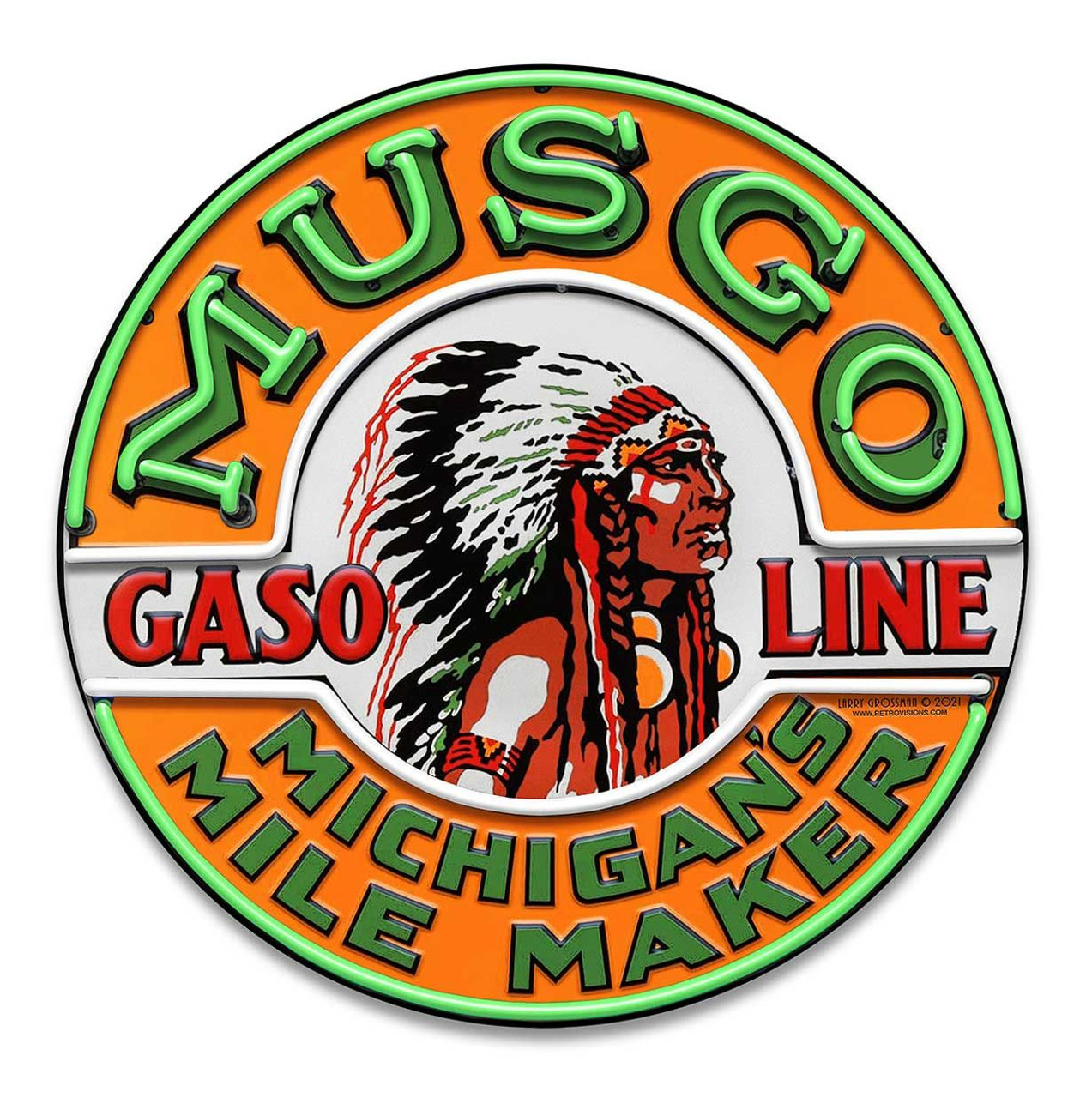 Musgo Gas Neon Style Metal Sign 18 x 18 Inches
