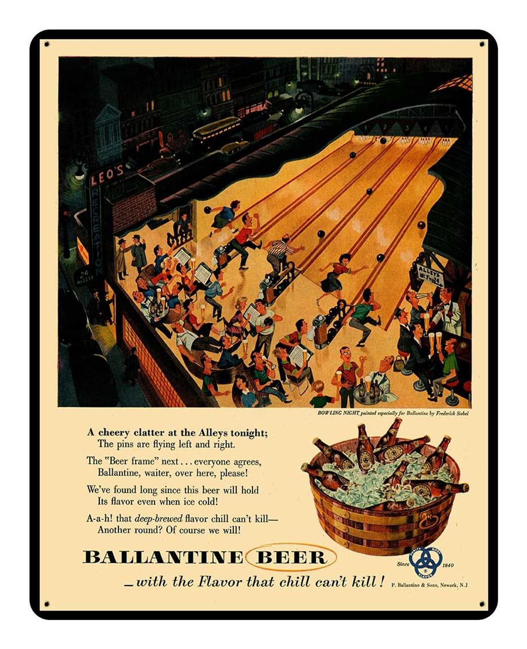 Rick Ballantine Beer Metal Sign 12 x 15 Inches