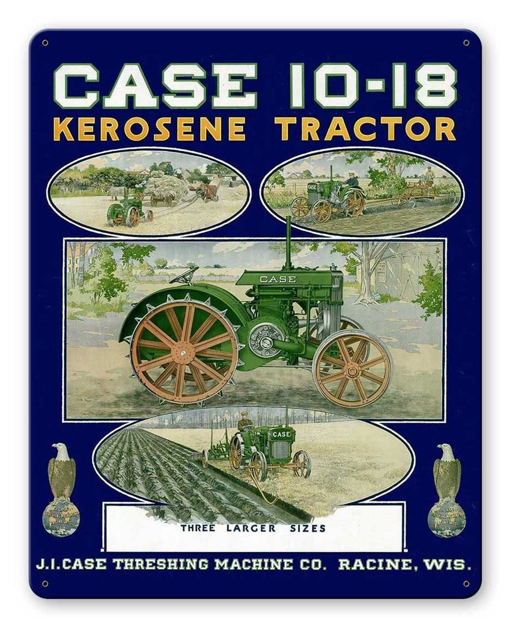Case Kerosene Tractor Metal Sign 12 x 15 Inches