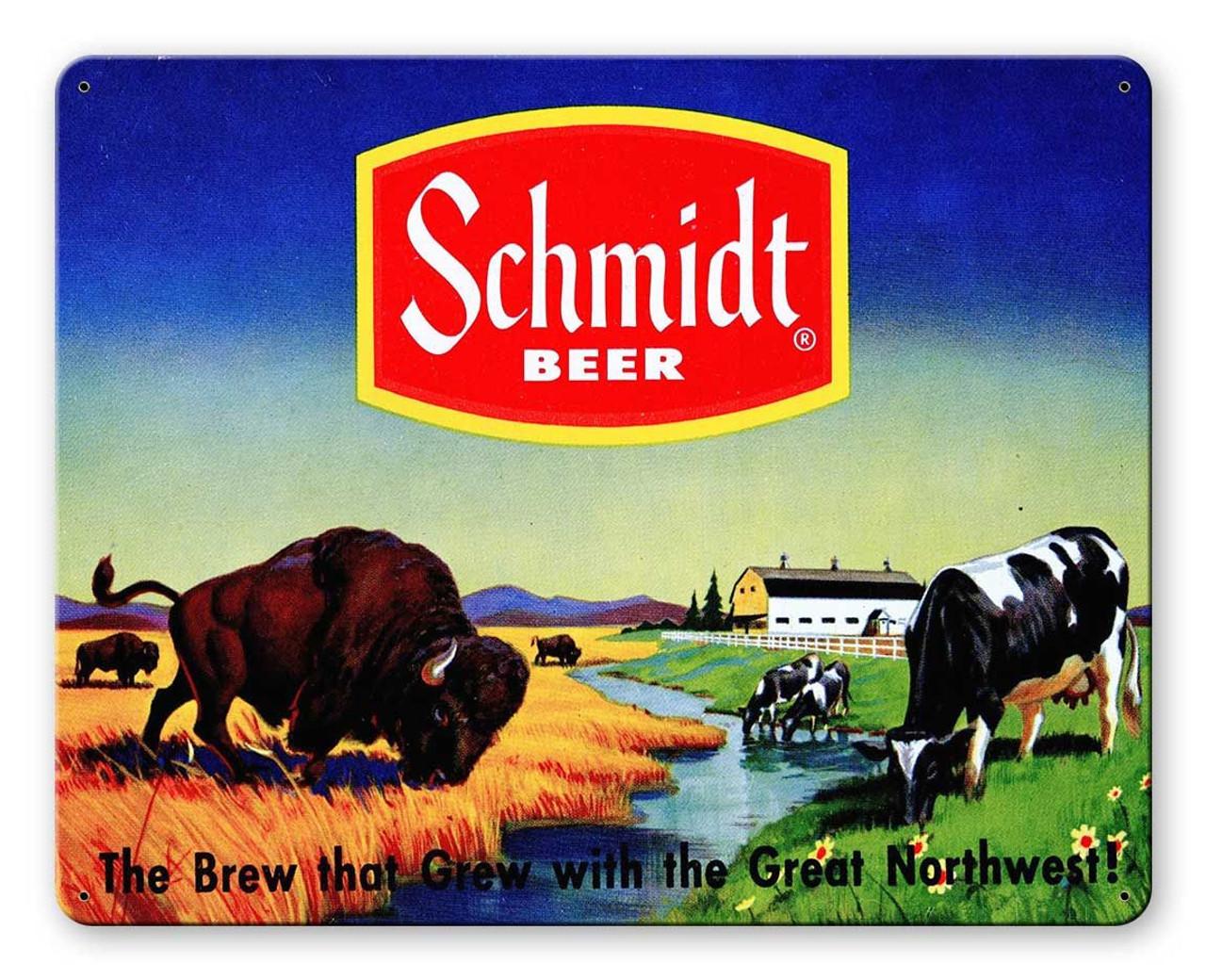 Schmidt Beer Ad Bison Metal Sign 15 x 12 Inches