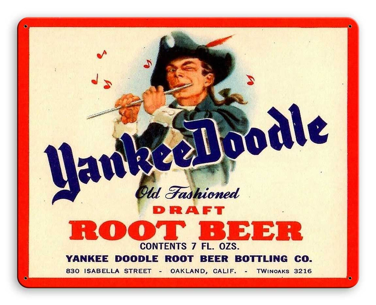Yankee Doodle Root Beer Metal Sign 15 x 12 Inches