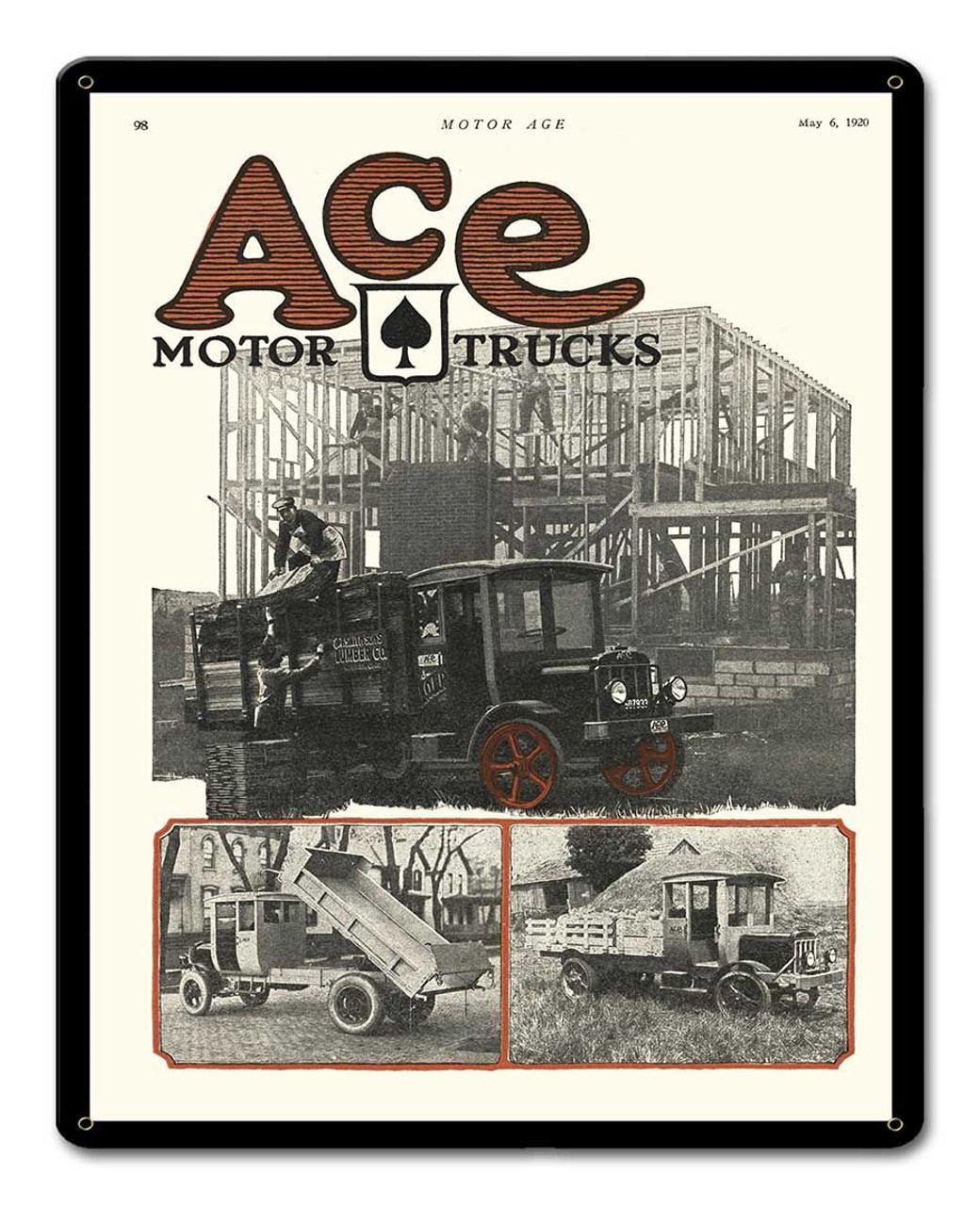 Ace Motor Trucks Metal Sign 12 x 15 Inches