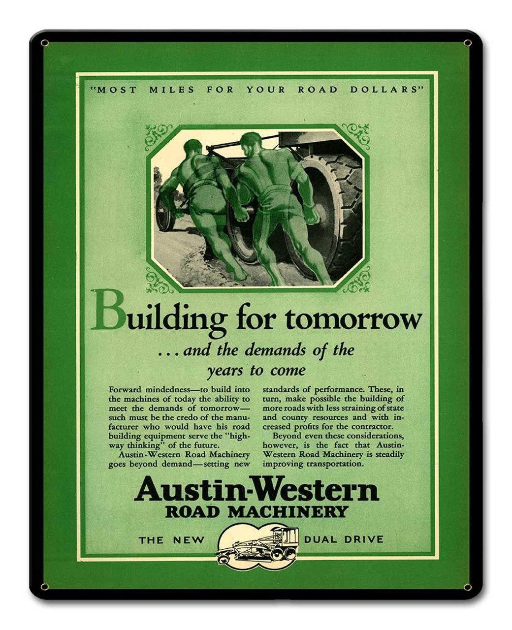 Austin Western Metal Sign 12 x 15 Inches