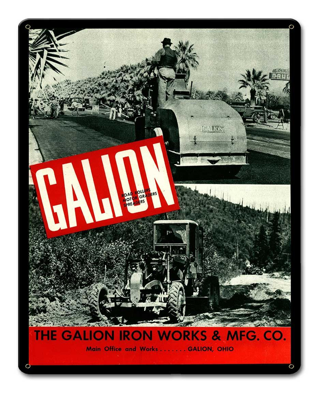 Galion Iron Works Metal Sign 12 x 15 Inches