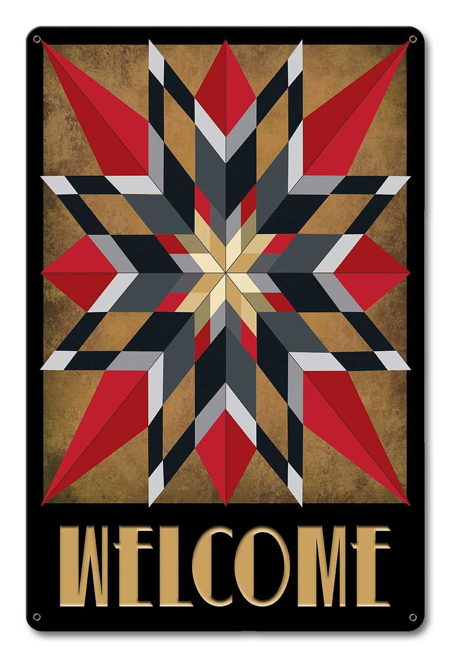 16 Point Star Welcome Metal Sign 12 x 18 Inches