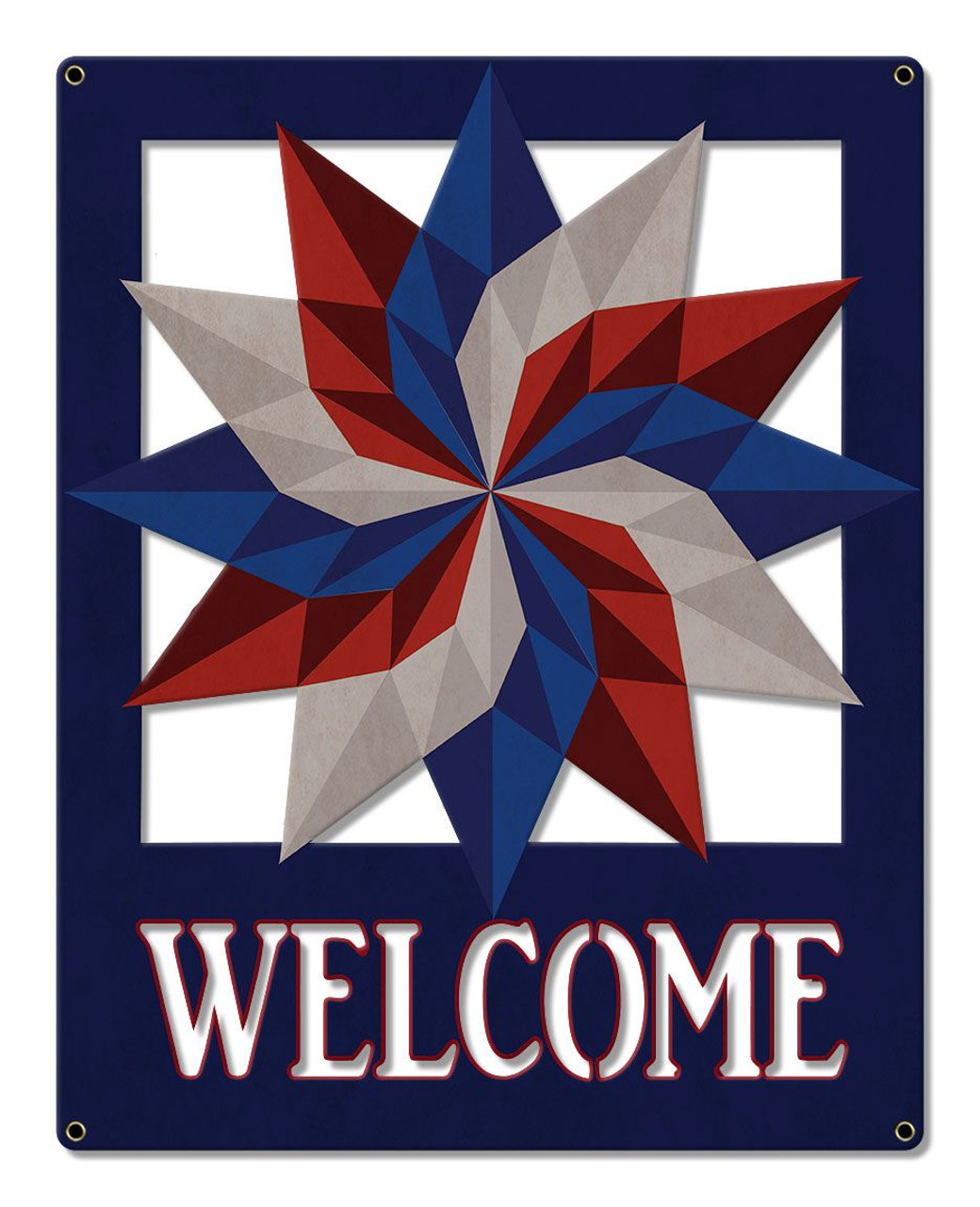 Starburst Design Welcome Metal Sign 12 x 15 Inches