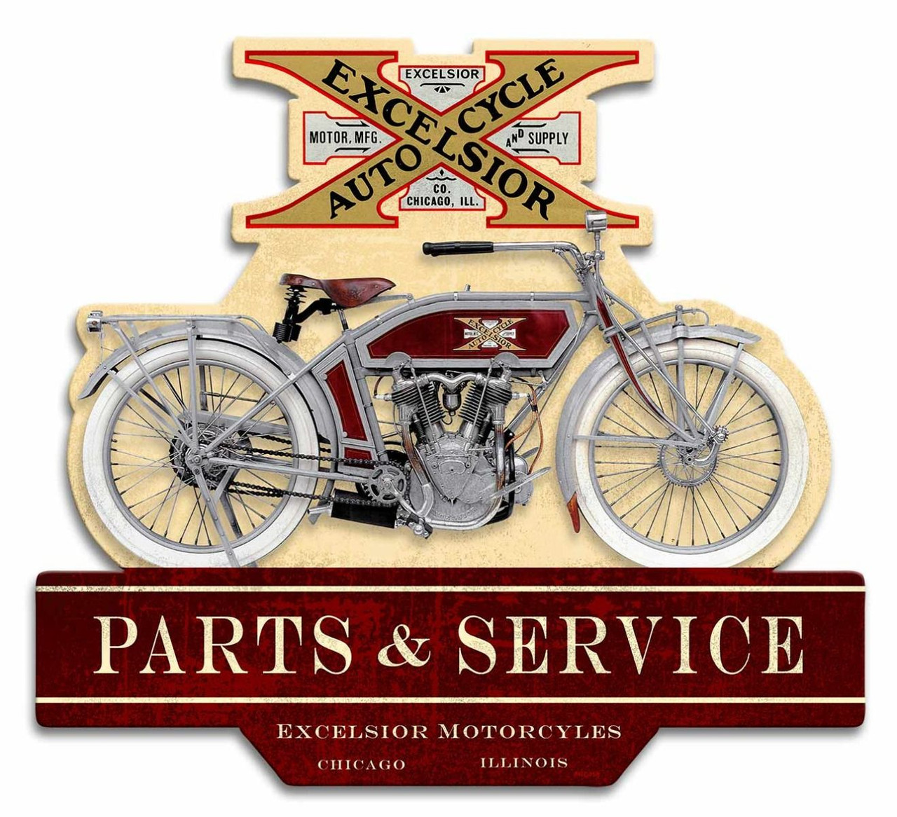 Double Sided Excelsior Motorcycle Metal Sign 17 x 16 Inches