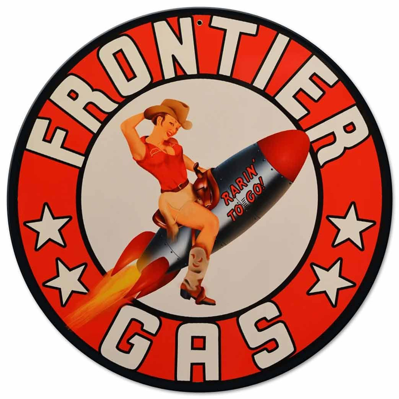 Frontier Rocket Girl Gas Metal Sign 14 x 14 Inches