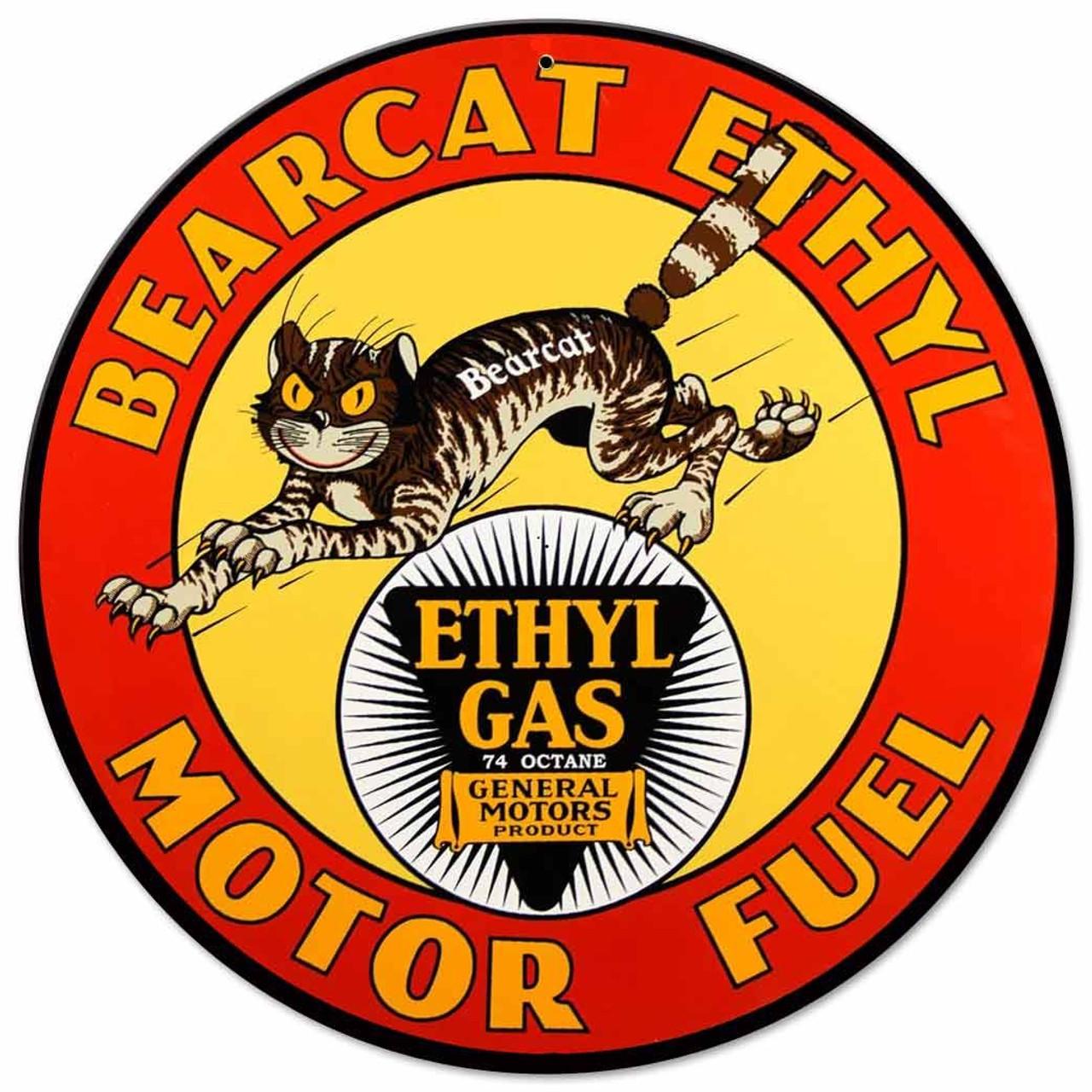 Bearcat Ethyl Gas Metal Sign 14 x 14 Inches