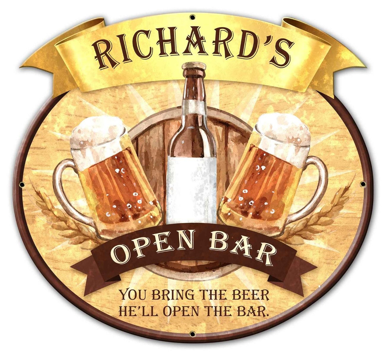 Open Bar Metal Sign - Personalized  25 x 23 Inches
