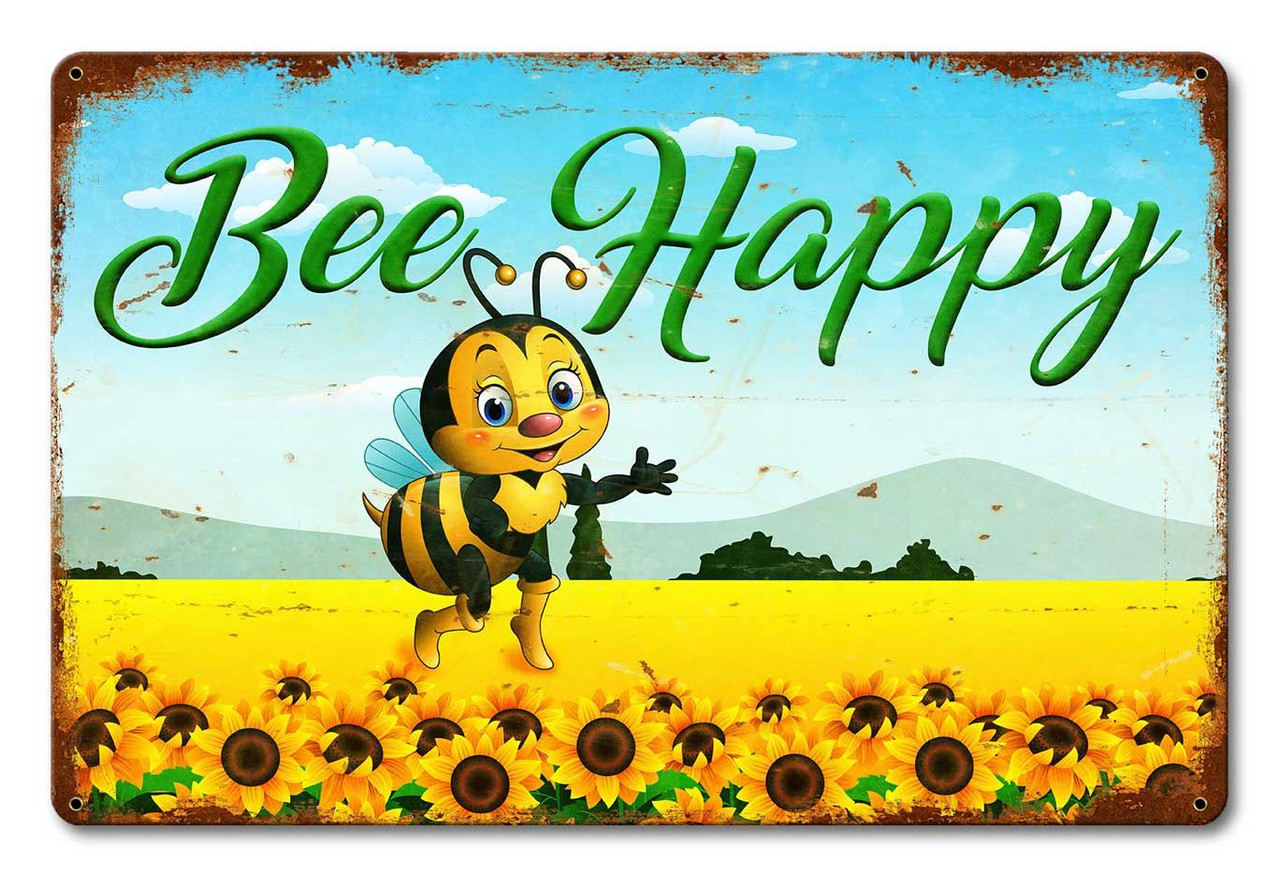 Bee Happy Metal Sign 18 x 12 Inches
