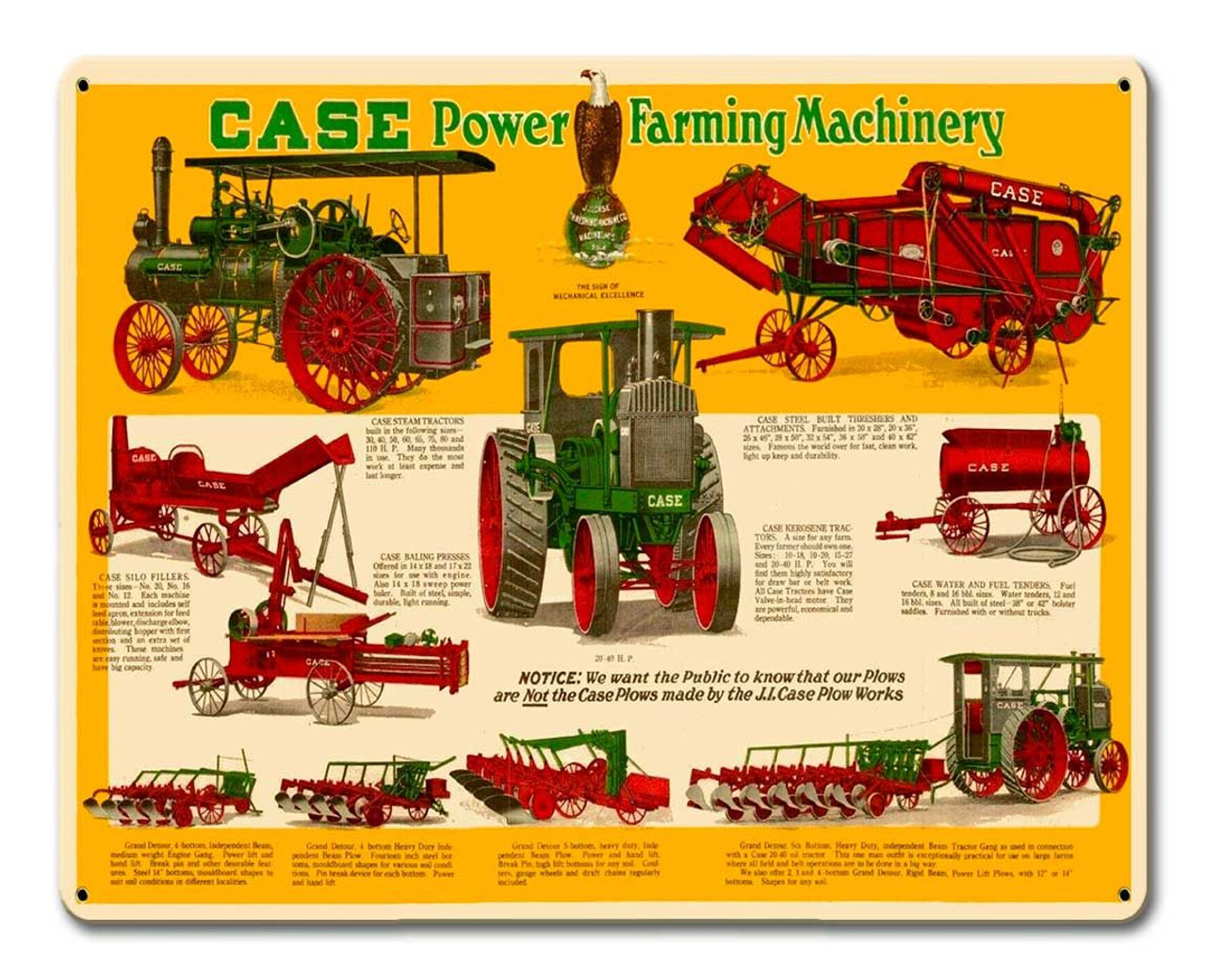 Case Farming Machinery Metal Sign 15 x 12 Inches