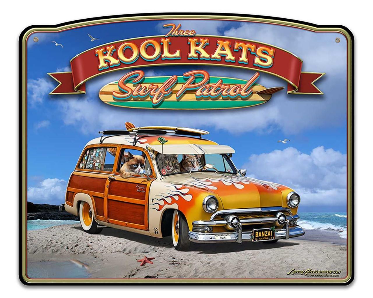 3 Kool Kats Custom Shape Metal Sign 18 x 15 Inches