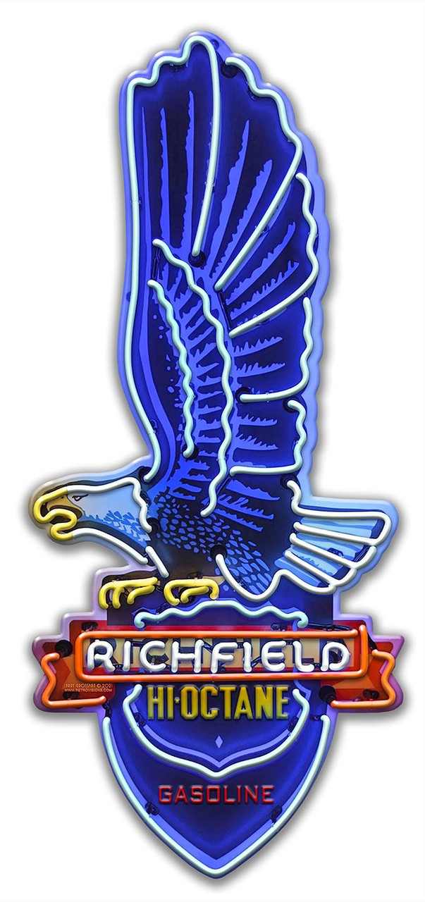 Richfield Custom Shape Neon Style Metal Sign 7 x 16 Inches