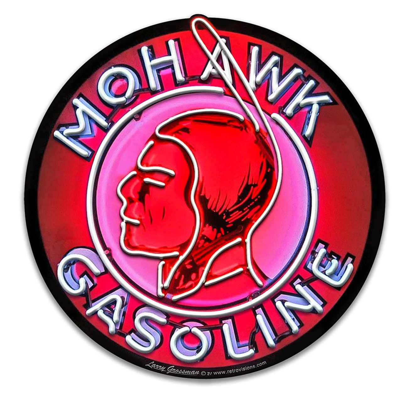 Mohawk  Neon Style Metal Sign 14 x 14 inches