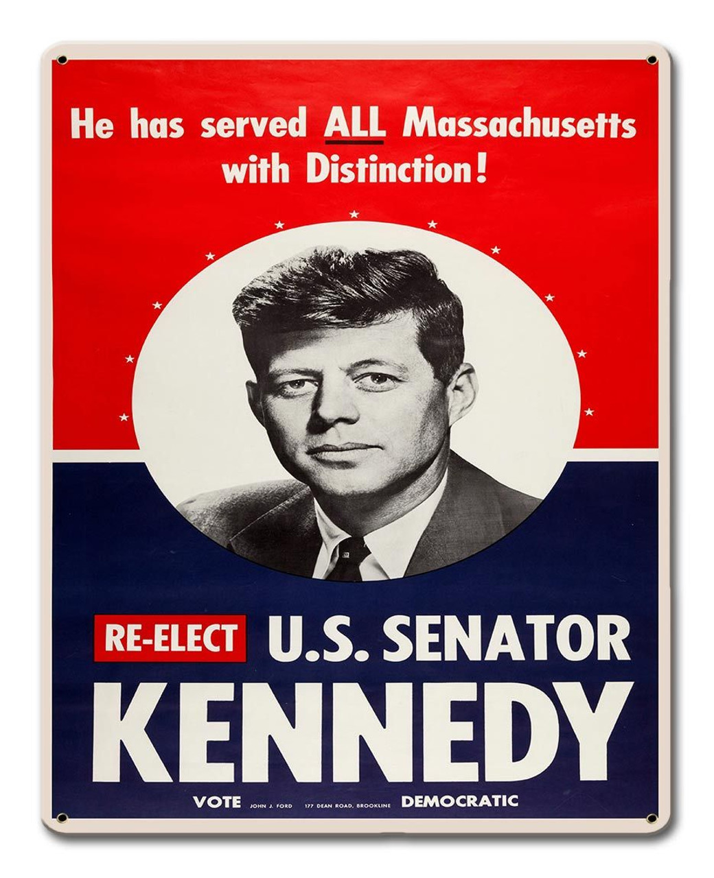 Reelect Kennedy 1958 Metal Sign 12 x 15 Inches
