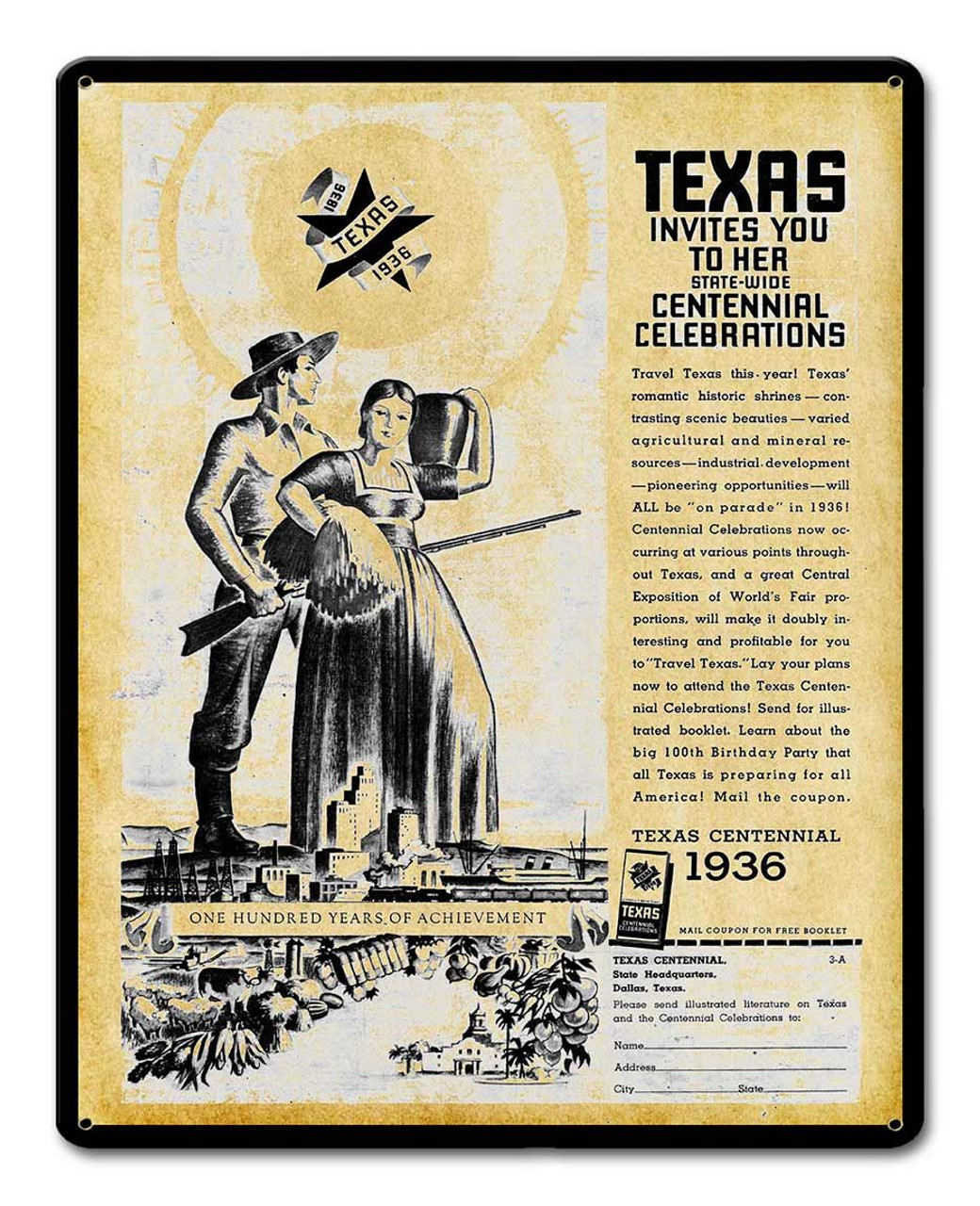 Texas Centennial 1936 Metal Sign 12 x 15 Inches
