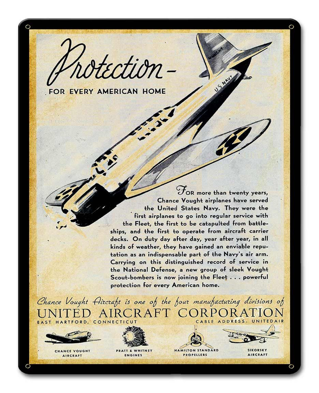 United Aircraft Corporation 1938 Metal Sign 12 x 15 Inches